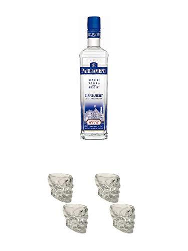 Parliament Vodka 0,70 Liter + Wodka Totenkopf Shotglas 2 Stück + Wodka Totenkopf Shotglas 2 Stück
