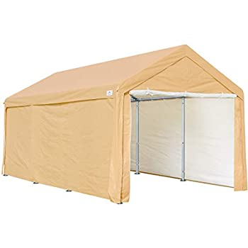 ADVANCE OUTDOOR Adjustable 10x20 ft Heavy Duty Carport Car Canopy Garage Shelter Boat Party Tent Adjustable Heights from 9.5ft to 11.0ft Removable Sidewalls and Doors Beige