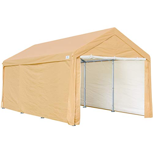 10 x 20 ft Heavy Duty Carport Car Canopy Garage Shelter Boat Party Tent, Adjustable Heights from 6.5ft to 8.0ft, Removable Sidewalls and Doors, Beige