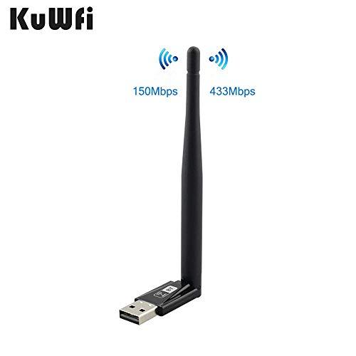 KuWFi 600M de banda dual USB Adaptador WiFi Tarjeta de red inalámbrica Bluetooth Frecuencia doble 433Mbps 802.11 ac / a / b / g / n para soporte de escritorio / portátil / PC Windows