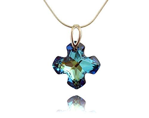 Crystals & Stones *Bermuda Blue* *Croce* - Pendente con catena in argento 925 con Swarovski® originali - Collana con scatola di gioielli
