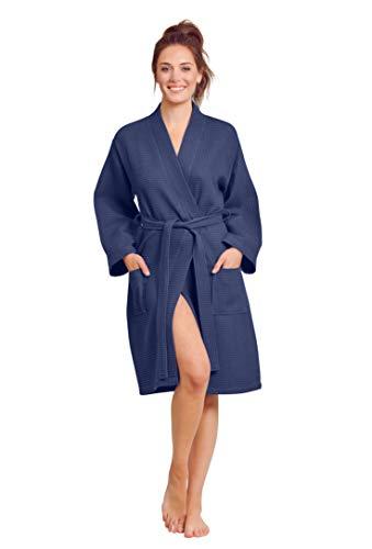 Bata de baño de lino suave al tacto kimono para mujer, bata de baño SPA ligera, mezcla de algodón y poliéster, Marino, M