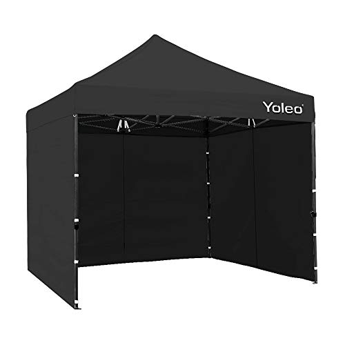 Yoleo Pop Up Canopy Tent with Sides 10x10 Commercial Instant Canopy Tent Easy Up Shelter with 3 Walls, Wheeled Carry Bag,4 Weight Bags (Black)