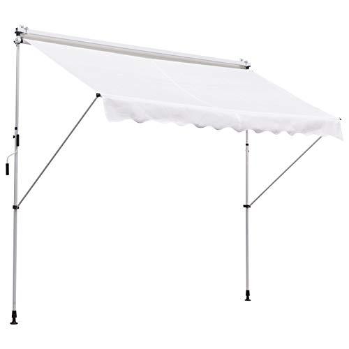 Outsunny Tenda da Sole Avvolgibile con Angolazione Regolabile, per Esterni, Impermeabile e Anti-UV, 300 x 150 x 170-280cm, Bianco