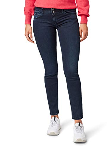 TOM TAILOR Damen Jeanshosen Carrie Slim Jeans Dark Stone Blue Black Denim,30/32,10173,6000