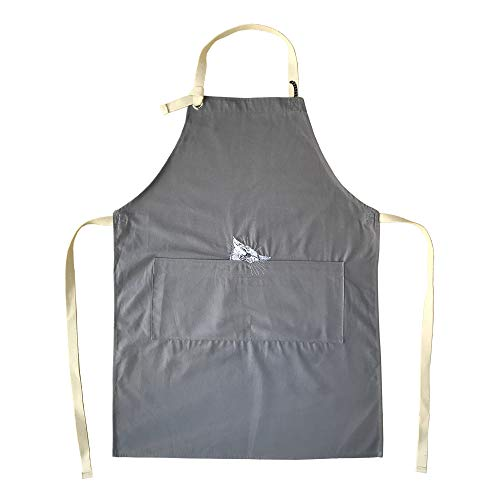 GREVY Baumwolle Küchenschürze mit Taschen Katze Kochschürze,W 60 cm x L 80 cm