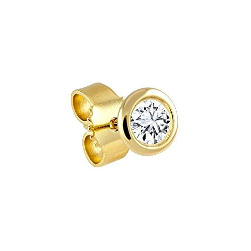 Diamond Line Herren - Ohrstecker 585er Gold 1 Diamant ca. 0,10 ct., gelbgold