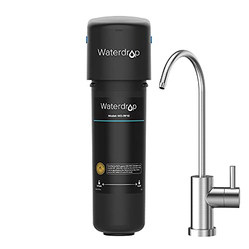 Waterdrop 10UB Under Sink Drinking Water Filtration System, with Dedicated Brushed Nickel Faucet, 8000 Gallons to Reduce Chlorine, Heavy Metals, USA Tech