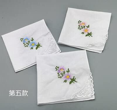 SushiSwap 3pcs Embroidery Flower White Handkerchiefs Ladies Lace Handkerchief Women Cotton Towels Chustki Zakdoek Fazzoletto Mouchoir H09 - See Chart - 541298