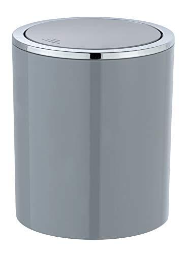 WENKO Schwingdeckeleimer Inca Grey - Abfallbehälter mit Schwingdeckel Fassungsvermögen: 2 l, Kunststoff (ABS), 14 x 16.8 x 14 cm, Grau