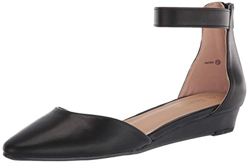 DREAM PAIRS Women's Black Pu Low Wedge Ankle Strap Flats Shoes Size 9.5 M US Amiga