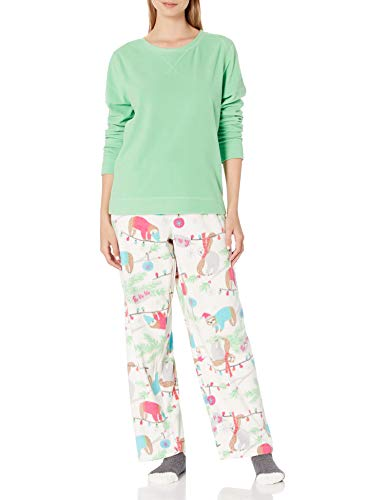 HUE Women's Fleece Long Sleeve Top and Pant 2 Piece Pajama Set, Absinthe Green - Slowdown Xmas, X-Large