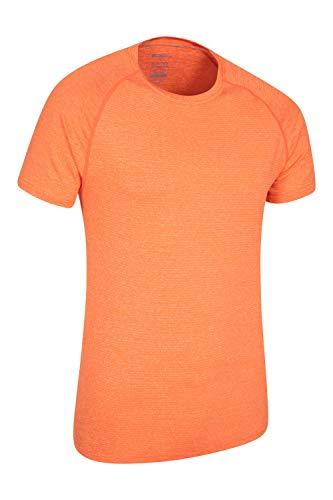 Mountain Warehouse IsoCool Agra gestreiftes Herren- T-Shirt - UPF-30+-UV-Schutz, leichtes, schnell trocknendes T-Shirt, atmungsaktiv - Für Wandern Orange Large