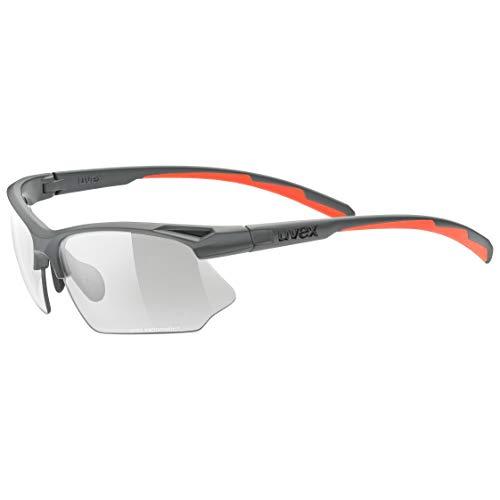 uvex Unisex– Erwachsene, sportstyle 802 V Sportbrille, selbsttönend, grey mat/smoke, one size