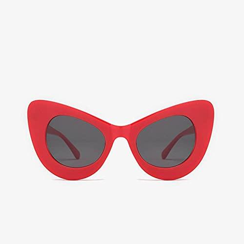 YHKF Gafas De Sol De Gran Tamaño De Ojo De Gato Vintage para Mujer A La Moda, Gafas De Sol Grandes De Diseñador para Mujer, Gafas De Sol Grandes para Mujer Uv400-Red_Black
