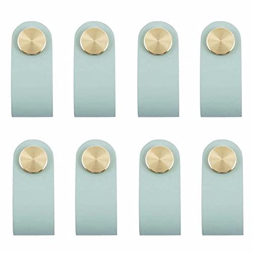 FBSHOP(TM) 8 tiradores de cuero azul de estilo nórdico para aparador de cuero, con un solo agujero, cajones, armarios, pomos para muebles, tiradores para cocina, dormitorio, sala de estar
