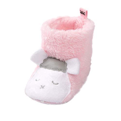 Lacofia Botas de Pantuflas de Animal Invierno de Suela Suave para bebé niña niño Oveja Rosa 6-12 Meses