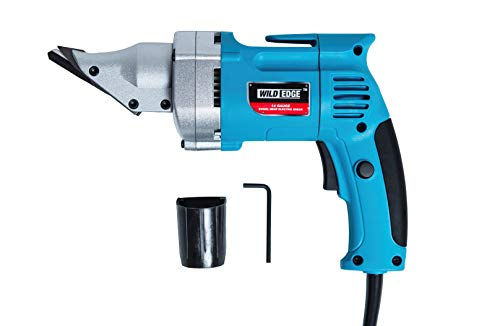 Wild Edge Electric Metal Shear, 5.0 Amp Variable Speed Swivel Head 14 Gauge Electric Metal Shear