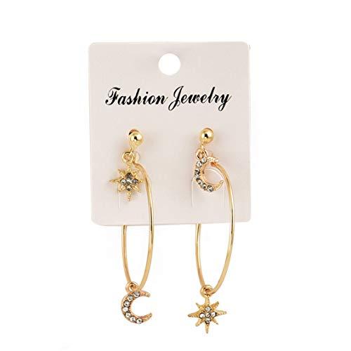Idiytip Tiny Star Rhinestones Moon Drop Earrings Big Circle Round For Women Golden Jewelry Stud earring set