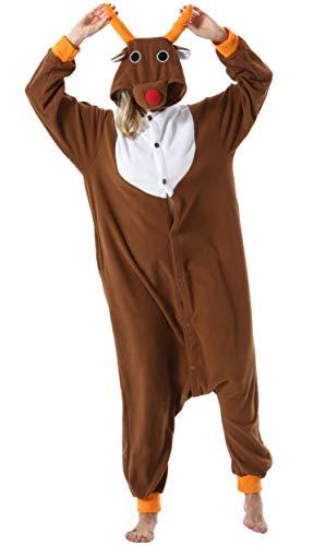 Pijama Animal Entero Unisex para Adultos con Capucha Mujer Hombre Cosplay Pyjamas Ropa de Dormir Traje de Disfraz para Festival de Carnaval Halloween Navidad Alce para Altura 148-187cm