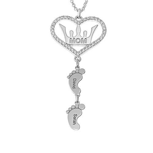 Corazón Corona y colgante de pies Collar familiar personalizado Collar con nombre de mujer Collar de plata Navidad para mamá(Plata 14)