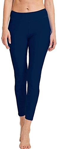 Sport Leggins,Yogahose Womens Swim Leggings UPF 50+ dames Lange zwembroek 3/4 Lengte Surfen Yoga Fitness Zwemmen Tights (Color : Navy Blue, Size : UK 12-14/Label 12)