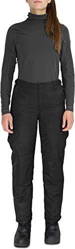Damen Winter Thermohose gefüttert Winter Pants verstärkt und mit Dehnfalten für Herbst und Winter Farbe Schwarz Größe XL