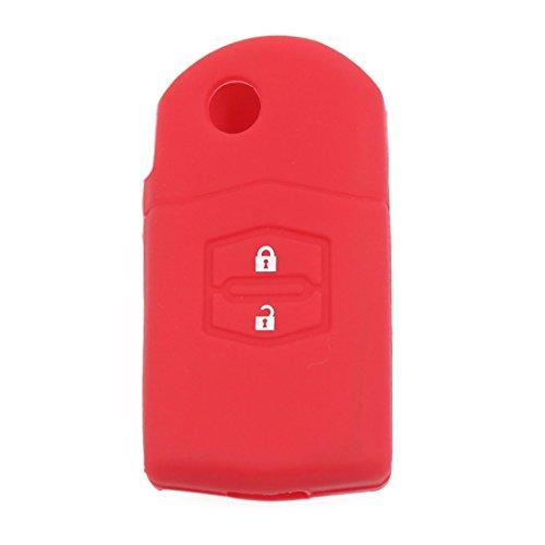 sourcing map Touche rouge voiture Housse en silicone peau Gousset Coque 2 boutons pour 3 5 6