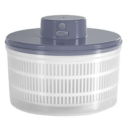 Kuinayouyi Ensalada eléctrica Spinner-lechuga vegetal, recargable por USB, secado rápido, lechuga y fruta Spinner material Bowl