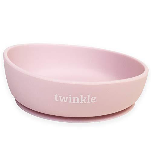 Twinkle - Magic Bowl - Bol de Silicona con Ventosa para Bebe - Plato Infantil Antideslizante con Succion para BLW y Aprendizaje Bebes (Rosa)