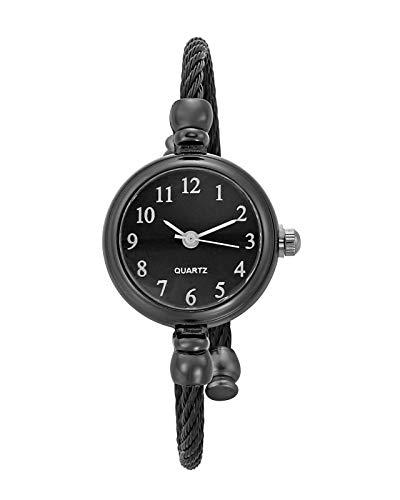 JSDDE Uhren Vintage Damen Armbanduhr Chic Manschette Damenuhr Spangenuhr Rund Armreifen Armkette Uhr Quarzuhr Kleideruhr für Frauen Schwarz-Schwarz