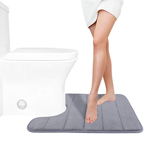 Yimobra Memory Foam Toilet Bath Mat U-Shaped, Soft and Comfortable, Super Water Absorption, Non-Slip, Thick, Machine Wash and Easier to Dry for Bathroom Commode Contour Rug, 24 X 20 Inches, Gray