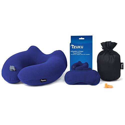 IZUKU Reisekissen Ideal für Reise Büro und Haus Nackenkissen mit stützenender Funktion Aufblasbares Nackenhörnchen mit Dem egornomischen Entwurf Weiches Nackstützenkissen(Marineblau)