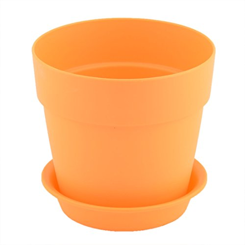 sourcingmap jardin jardinage Plastique design ronde Fleur Plante Plateau Pot Semoir Support Orange 9.6cm