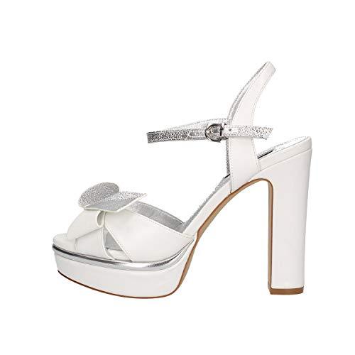 LUCIANO BARACHINI Cc235b Chaussures à Talons avec Plateau Femme Blanc 40