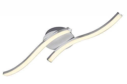Briloner Leuchten – LED Deckenleuchte, wellenförmige Deckenlampe, 2-flammig, 2 x 6W, warm weißes Licht, 55.4 cm, aluminiumfarbig