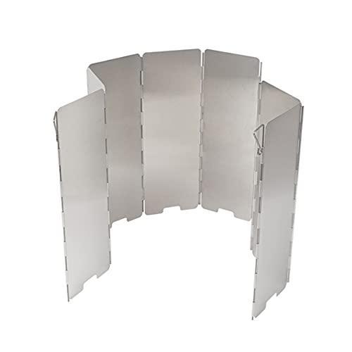 WLQWER Parabrisas Plegable para Estufa de Camping, Placas de 8/9/10 para Exterior de Aluminio para Estufa para Estufa con Bolsa de Transporte, Parabrisas Ligero con Quemador de butano,8 Plates