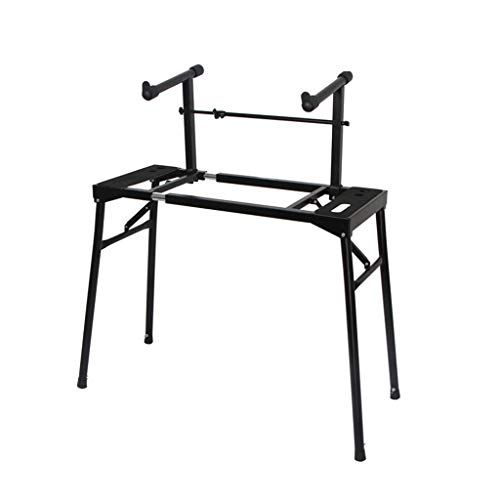 Nai-tripod Doppel Electronic Piano Ständer, Straßenmusiker Bar, Plus Overhead einziehbare Tastatur-Regal - Faltbare bewegliches Klavier Rahmen (Color : Black, Size : 63-82cm Adjustable)