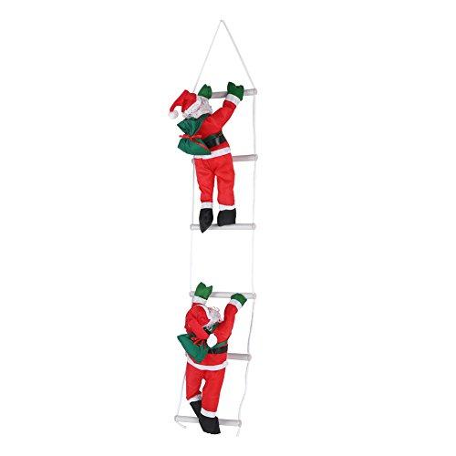 Ausla Kerstman op Ladder, Klimladder Kerstman binnen en buiten Santa Klimmen Touw Ladder Kerstmis Hangende Decoratie voor Kerstmis Party Tuin Muren en Tuin Windows 105 CM