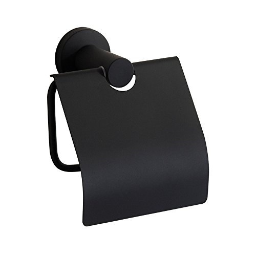 CASEWIND Amerikanisch Toilettenpapierhalter mit Deckel Schwarz Klorollenhalter, Wasserdicht Papierhalter aus Edelstahl Cool Stil für Badezimmer Wandmontag