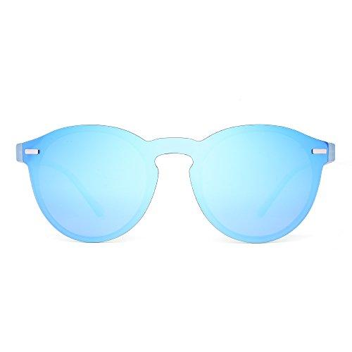 JIM HALO Gafas de Sol Redondas Polarizadas para Mujer Hombre Gafas Moda Sin Montura UV400 (Azul/Azul Transparente Mate)