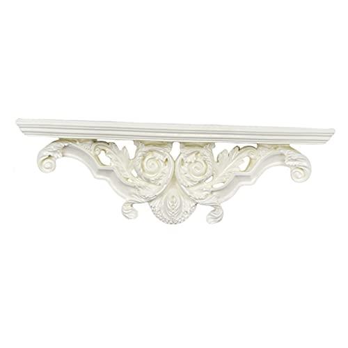 H HILABEE Estante flotante creativo de almacenamiento de resina soporte de sala de estar decoración de baño artesanías - beige