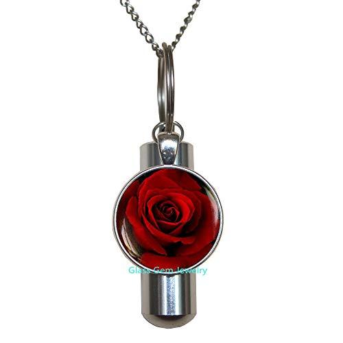 glasso0gemo0jewelry Q0046 - Collar con urna de cremación de Rosas Roj