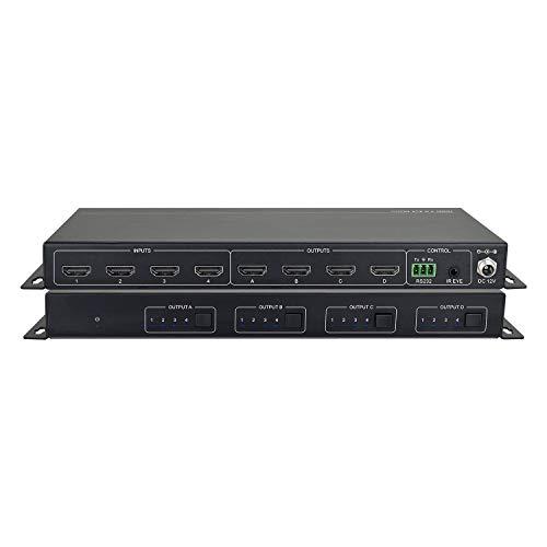 4x4 HDMI Matrix Switch 4K@60Hz, Rack-Schaltmatrix 4K/60Hz, 1080P@60Hz, IR-Fernbedienung, HDMI 2.0-kompatibel, HDCP 2.2 / 1.4, SPDIF-Audioausgangsextraktor, 18 Gbit/s, 4-in-4-Videoausgang