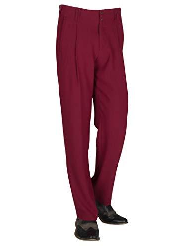 Herren Hose in Weinrot mit Bundfalten im Stil der 50er Jahr Lindy Hop Stil Fifties Style Mens Trousers Model Swing Größe 52