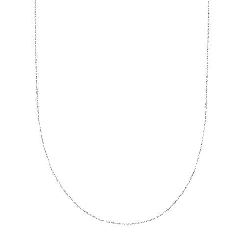 "Collier robuste avec chaîne en corde en or blanc massif 10K 16 ""0.9mm - 0"
