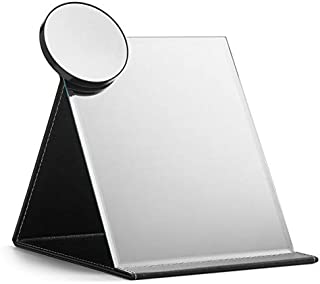 OMIRO Travel Folding Makeup Mirror Portable PU Leather Mirror with Adjustable Standing (XL, Black)
