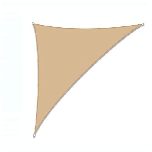 THJ Toldo de vela con protección UV, impermeable, para patio, jardín con cuerdas, triángulo derecho (5 x 5 x 7,1 m, beige)