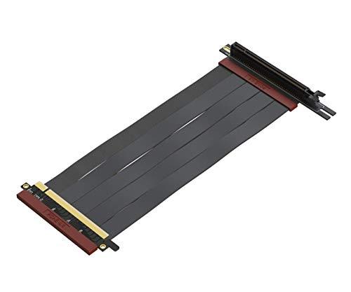 LINKUP - Ultra PCIe 4.0 X16 Tarjeta Extensión Cable Elevador [RTX3090 RX6900XT Probado] Gaming PCI Express Gen4 Conector PCIE Inverso con Zócalo de 270 Grados{23cm} Compatible con NZXT H1 sin tornillo