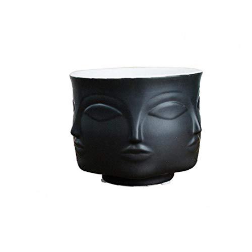 Vasen Mann Gesichts-blumen-vase Home Decoration Vase Moderne Vase Aus Keramik Sukkulente Kaktus Indoor Blumentopf Für Blumen-topf Pflanz Schwarz